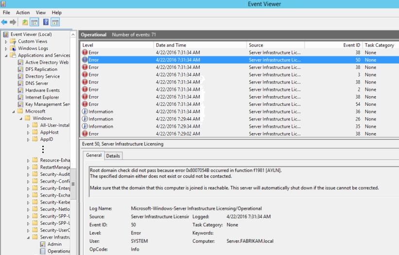 Server Infrastructure Licensing Error