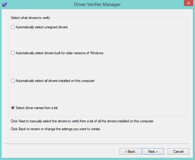 select drivers to verify