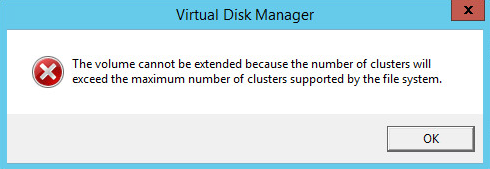 Unable to extend, cluster size