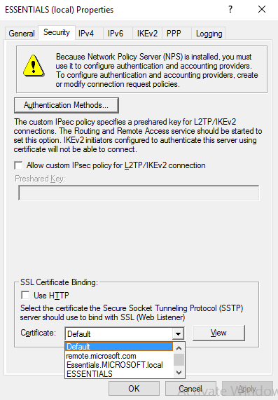 RRAS certificate