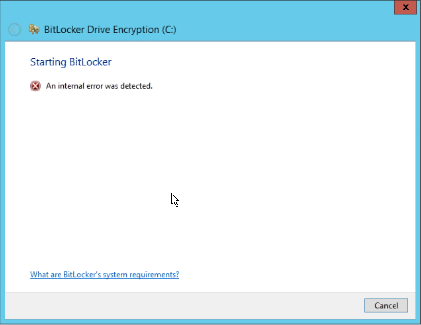 Bitlocker Internal error