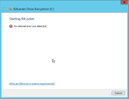 Bitlocker Internal error